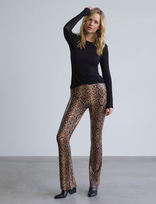 Faux Leather Animal Flared Legging with Perfect Control in snake