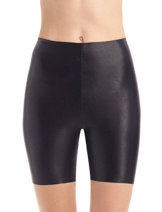 faux leather bike short