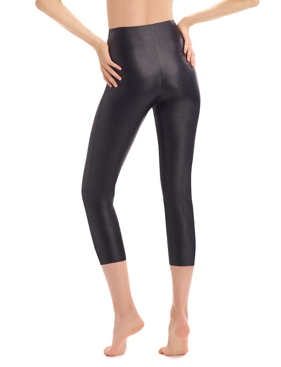 Faux Leather Capri Legging with Perfect Control in Black