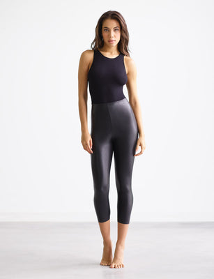 Faux Leather Capri Legging with Perfect Control