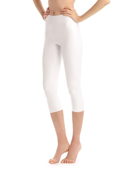 Faux Leather Capri Legging with Perfect Control in White