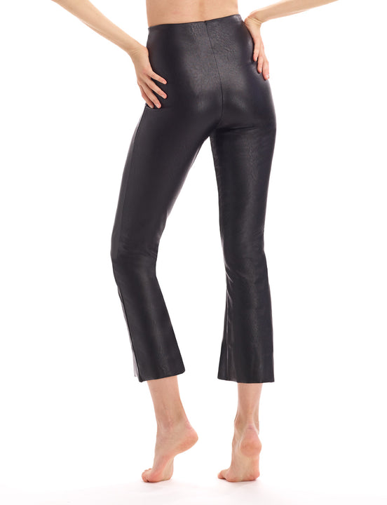 faux leather crop flare legging with perfect control