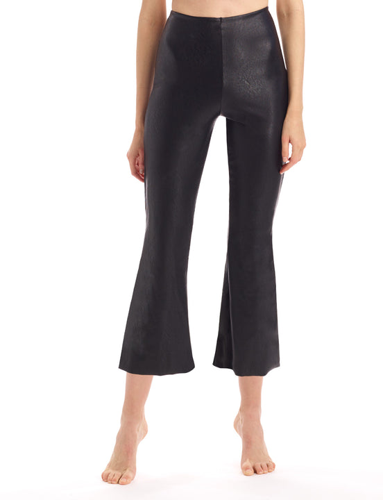 womens faux leather crop flare