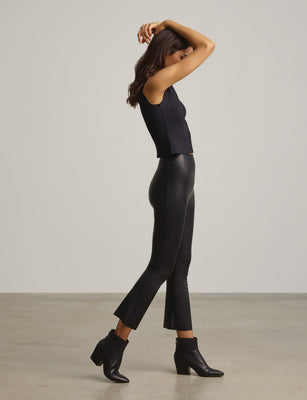 Faux Leather Crop Flare Legging