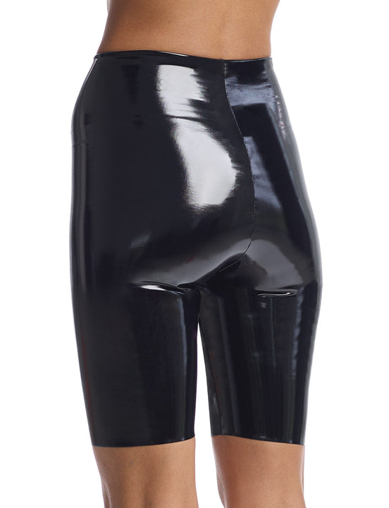 faux patent leather bike short in black