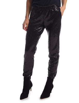 Sequin Jogger in Black