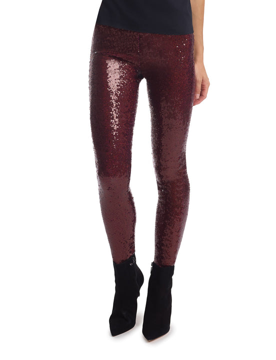 Sequin Legging with Perfect Control Wine color
