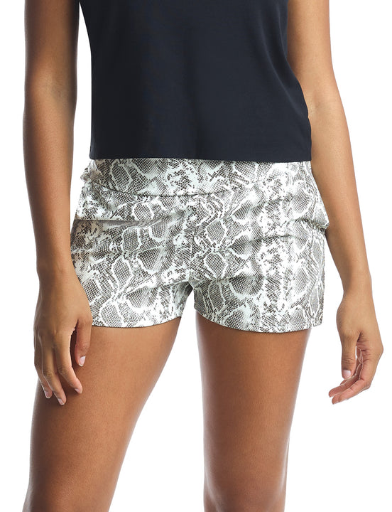 Faux Leather Animal Relaxed Short in White Snake