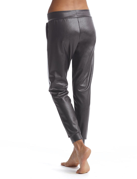 faux leather jogger in gunmetal