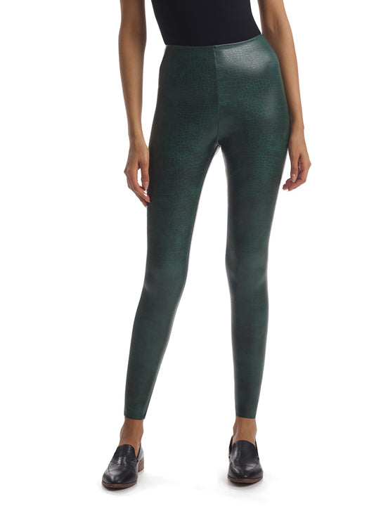 Faux Leather Animal Legging with Perfect Control in Green Croc