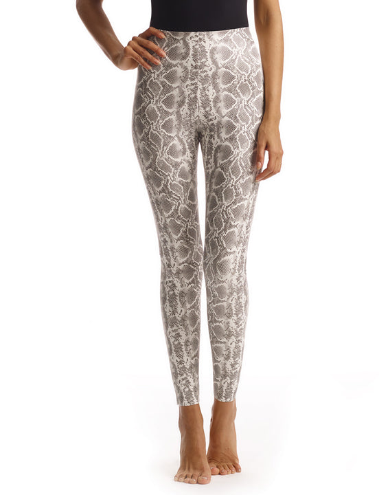 faux leather animal leggings in white snake
