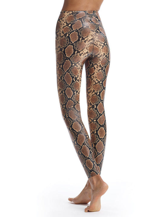 snake print faux leather legging