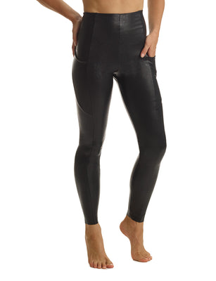 Faux Leather Pocket Leggings in Black