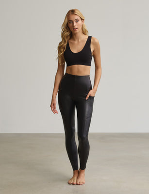 Faux Leather Pocket Legging