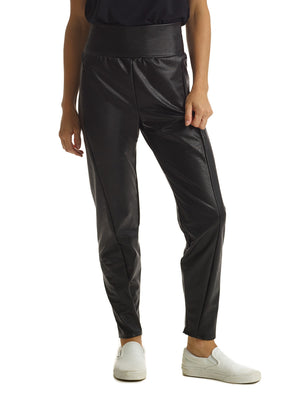 Faux Leather Tapered Pant in Black