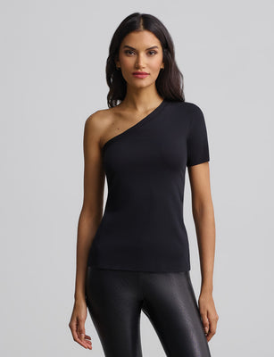 women's black one shoulder cotton tee
