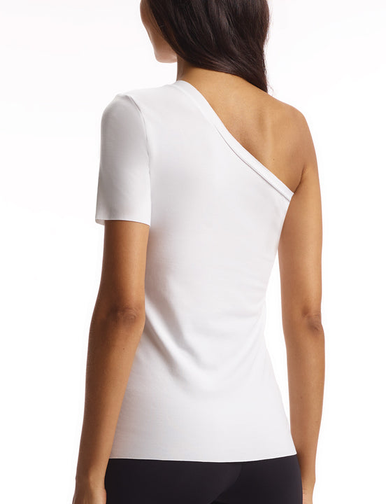 women's white one shoulder cotton tee