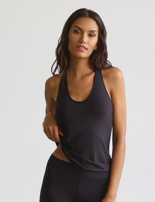 lifted racerback tank with shelf bra in midnight