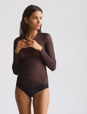 mesh long sleeve top in black