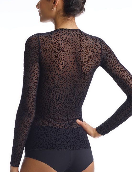 mesh leopard print top in black