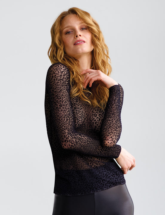 Sale: Chic Mesh Leopard Long Sleeve Top