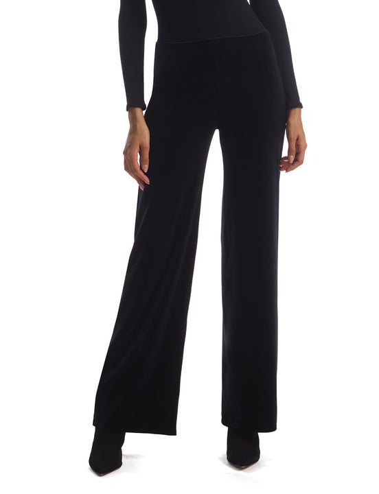 Velvet Wideleg Pant in Black