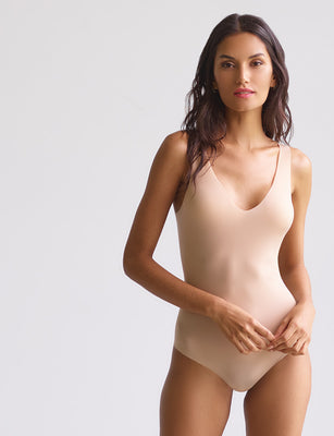 whisper tank bodysuit thong in beige