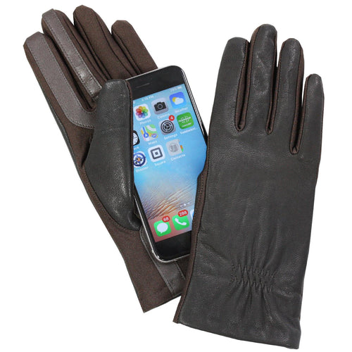 Isotoner Women's A40010 Leather & Spandex Smartouch Touchscreen Gloves Brown XL