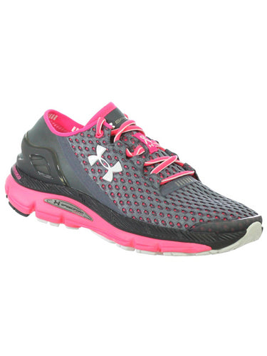 Under Armour Womens Speedform Gemini Athletic Shoes Gravel Cerise White 10 M