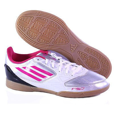 F5 IN W BY ADIDAS WOMEN'S INDOOR SOCCER SHOE METALIC SILVER/BRIGHT PINK/WHITE 9.5M
