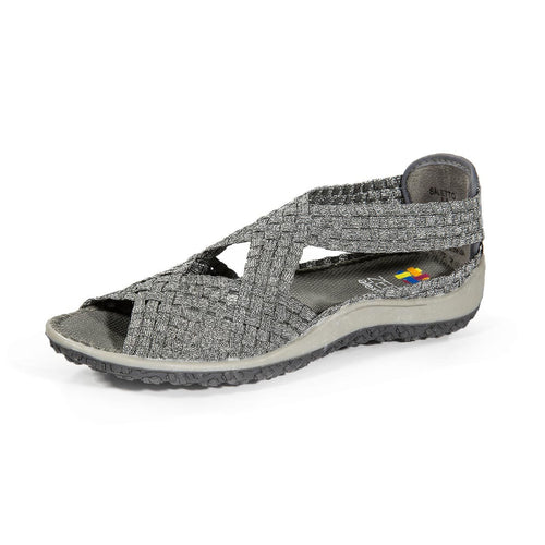 Zee Alexis Women's Saletto Woven Sandal Pewter 6.5 M