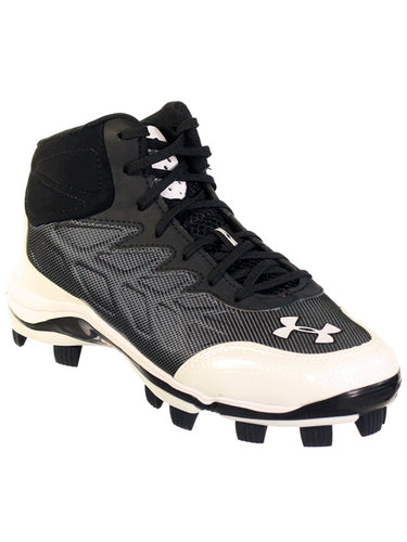 UNDER ARMOUR HEATER MID TPU JR YOUTH BASEBALL CLEATS BLK / WHT 3Y