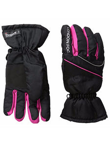 London Fog Big Girls Thinsulate Lined Waterproof Ski Gloves Black 7-14