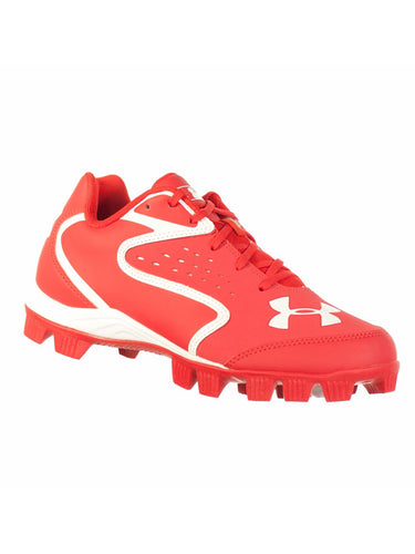 UNDER ARMOUR CLEAN UP LOW RM JR YOUTH BASEBALL CLEATS RED WHITE 6Y