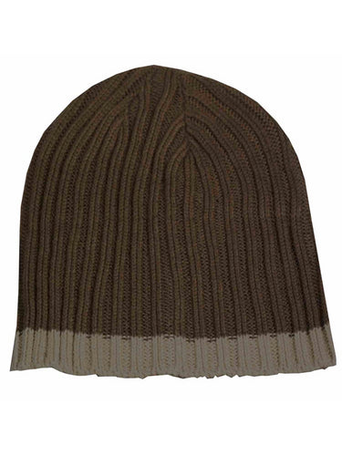 Isotoner A25038 Men's Brown Cable Knit Beanie Cap With Tan Accent Stripe