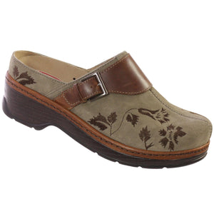 Klogs Audrey Women's Taupe Suede Tapestry 7.5 W Clog Display Model Shoes