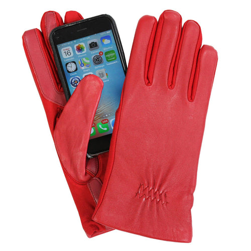 Isotoner Womens Leather & Spandex Smartouch Touchscreen Glove Red L/XL