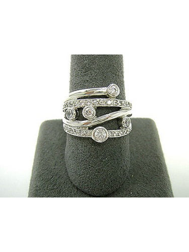 STERLING SILVER WAVE RING WITH CZ'S SIZE 5 WAVE RING
