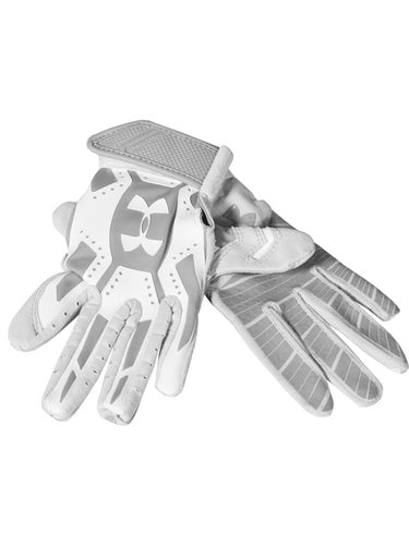 UNDER ARMOUR BOYS MOTIVE BATTING GLOVE GREY WHITE YOUTH LARGE