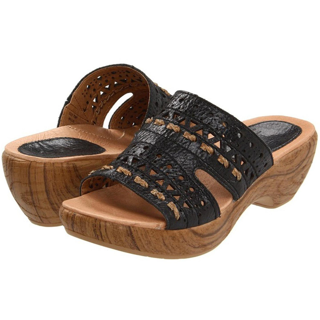 Klogs USA Womens Millie Sandal by Kravings Leather Upper Black 6.5 M
