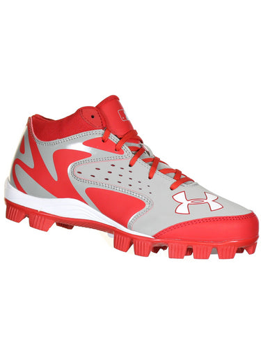 Under Armour LEADOFF MID RM GREY/RED Mens Baseball Cleats US 9.5 M, EU 43