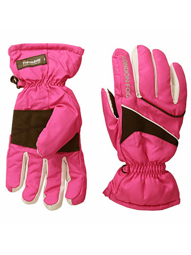 London Fog Big Girls Thinsulate Lined Waterproof Ski Gloves Pink 7-14