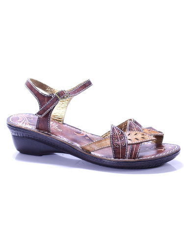 L'ARTISTE MARIGOLD BY SPRING STEP HAND PAINTED SANDALS BROWN MULTI 37