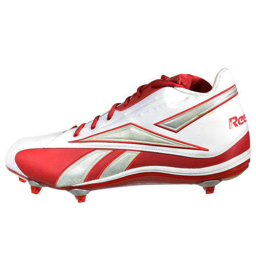 Reebok Mens Football Shoes 20-134970 White Red With Removeable Cleats 17 M
