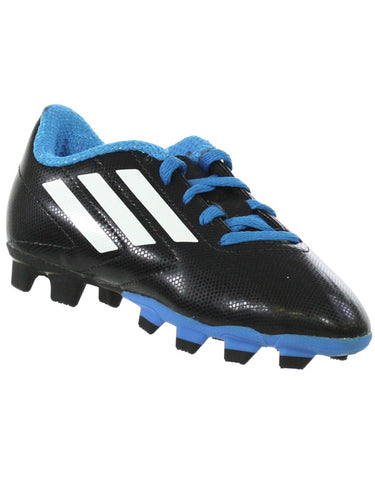 ADIDAS GOLETTO Youth Molded Soccer Cleats Black White Light Blue 12K