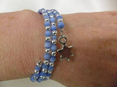 Blue and Silver Plated Beaded Bracelet with Star Charm