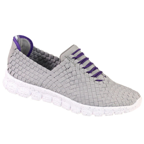 Zee Alexis Women's Danielle Woven Athletic Shoe Grey Purple 41 US 10.5