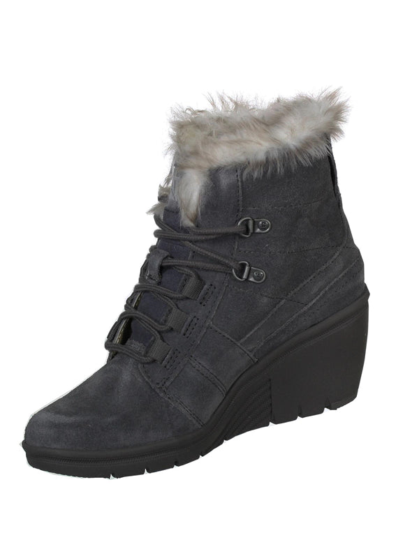 Cat By Caterpillar Harper Womens Faux Fur Wedge Boots Dark Gull Grey 5 M