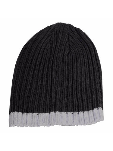 Isotoner A25038 Men's Navy Cable Knit Beanie Cap With Light Blue Accent Stripe