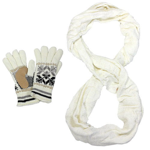 Isotoner A40216 Women's Infinity Scarf & Alpine Knit Microluxe Glove Set Ivory